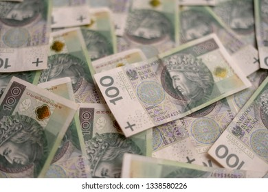 Polish Zloty banknotes. Stack of polish money. Business and financial concept