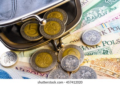 Polish Zloty in black purse and coins on a white background. Close-up.