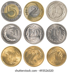 Polish Zloty coins collection set isolated on white background - Shutterstock ID 493526320