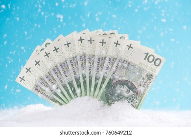 Polish zloty notes, Christmas sale or Cyber Monday,Black Friday concept.