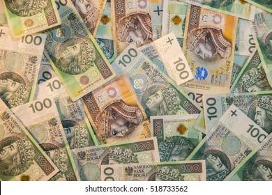 Polish zloty in notes - money background