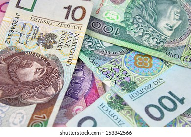 Polish zloty paper money for background