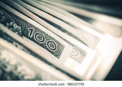 Polish Zloty Trading Business Theme. Polish Zloty Closeup. One Hundred Zloty Bills. Polish Currency. Poland, Europe.