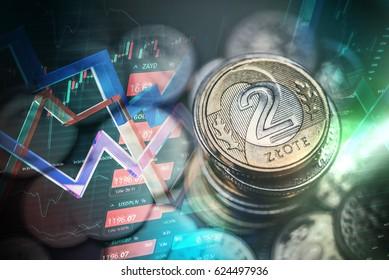 Polish Zloty Trading Concept. Polski Zloty Polish Currency Trading Illustration with Line Graphs.
