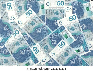 Polish zlotys - Polish currency, 50 PLN bills (banknotes face value PLN 50) - carpet from money