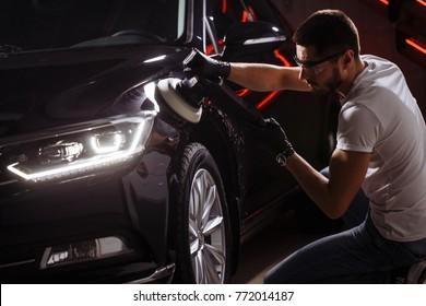 Polished black car polishing machine polished finishing. ceramic coating