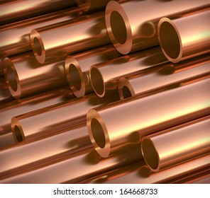 Polished copper pipes. 3d illustration