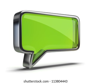 polished glass icon chat. 3d image. Isolated white background.