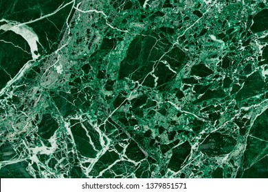 Polished Green And Malachite Color Marble With White Streaks. Stone Decoration Marble Background, Close-Up Of Grunge Marble Texture.