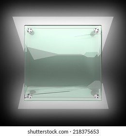 polished metal background with glass