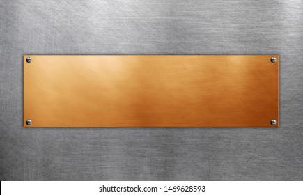 Polished metallic plate on steel background