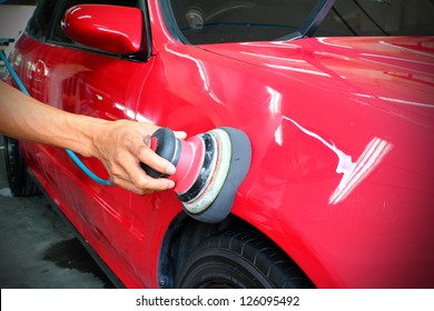 Polished red car