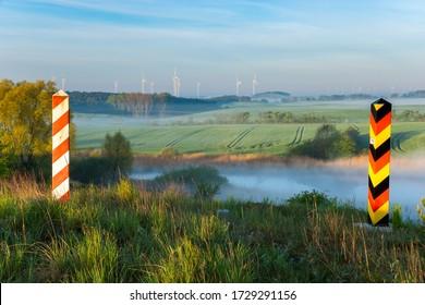 The Polish-German state border. Border posts on the border