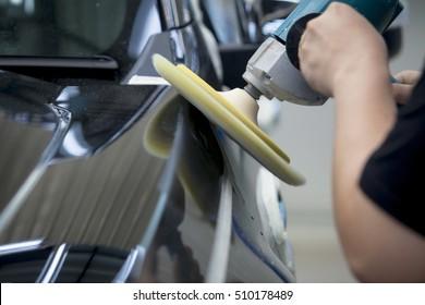 Polishing black car