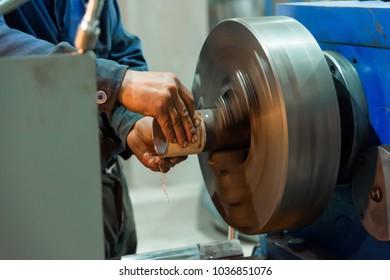 polishing machine. metal work