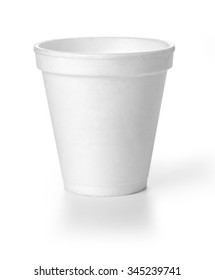 Polistren foam takeaway coffe cup with clipping path