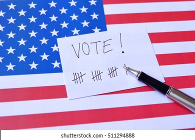 Politic Concept : Vote of america. Vote Now Election Choice Decision. Voting in the USA. Invite the voters of the United States.