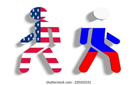 politic conflict between russia and usa. metaphor in icons