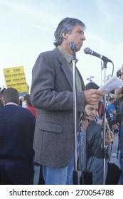 Political activist, Tom Hayden, speaking at rally, Washington D.C.