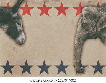 Political animals, a donkey representing democrats and an elephant representing republicans, on a vintage boxing style poster.