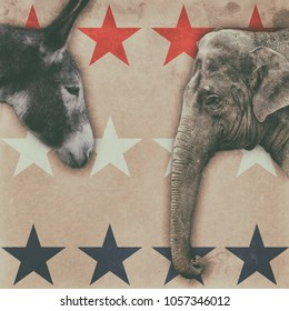 Political animals, a donkey representing democrats and an elephant representing republicans, on a vintage boxing style poster. Cropped and adjusted into a square.