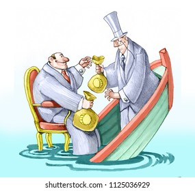 political and banker they exchange money in a boat that sinks without worrying