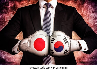 Political and business Concept of trade war between korea and japan