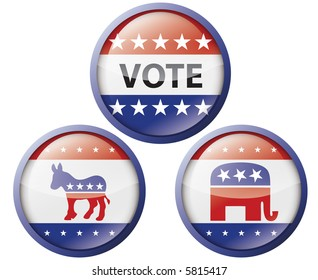 Political buttons (also available in vector)
