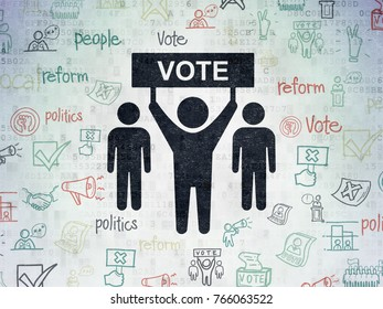 Political concept: Painted black Election Campaign icon on Digital Data Paper background with  Hand Drawn Politics Icons