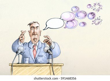 political conference, the comics of the speaker are turned into soap bubbles