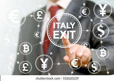 Political economics initiation exit Italy from European Union voting concept. Network currency icon. Man touched italy exit sign. Breakdown collapse of EU. European Union, referendum, output, vote.