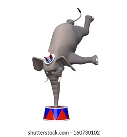 Political Elephant Balanced - A cute cartoon elephant balanced on his trunk wearing a red, white, and blue hat.  Isolated on a white background.