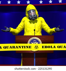 A political figure wearing a hazmat suit is shrugging his shoulders at a speech about Ebola.  He is behind a Ebola Quarantine tape. Political
