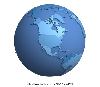 Political globe with blue, extruded countries, centered on North America