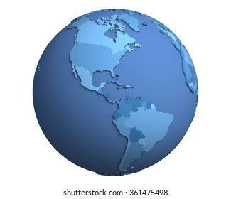 Political globe with blue, extruded countries, centered on the Americas