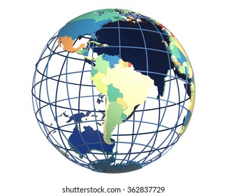 Political globe with colored, extruded countries, centered on South America