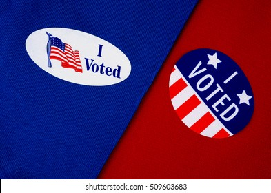 """Political """"I Voted"""" Stickers On Red And Blue Material Divided In Half"""