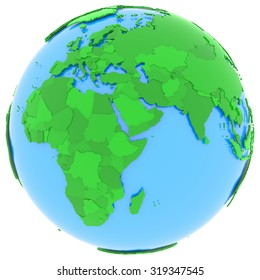 political map of europe and africa with countries in different shades of green isolated on