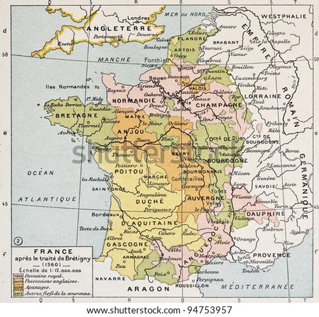 Political Map France 1360 By Paul Stock Photo Edit Now 94753957