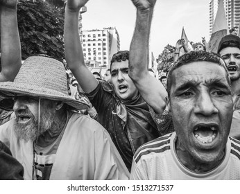 Political related protests in Algeria. Very large peaceful anti-government protests are organised each Friday since Fabruary 22, 2019 in almost all Algerian cities. Oran, Algeria September 20, 2019.