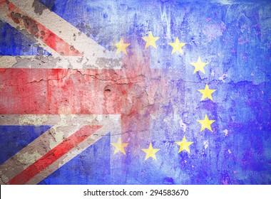 political relations European Union Great Britain flag grunge vintage retro style