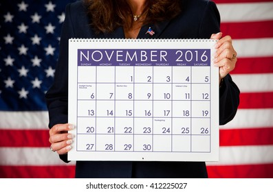 Politician: Holding a Calendar with Election Day 2016