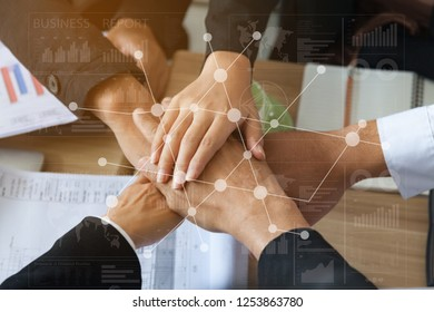 Politicians and Elected Candidates put their Hands together.There is an Agreement linking the camps of Political Partnerships.