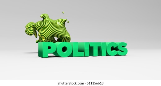 POLITICS -  color type on white studiobackground with design element - 3D rendered royalty free stock picture. This image can be used for an online website banner ad or a print postcard.