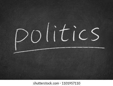 politics concept word on a blackboard background