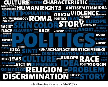 - POLITICS - image with words associated with the topic RACISM, word, image, illustration