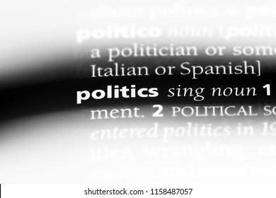 politics word in a dictionary. politics concept.