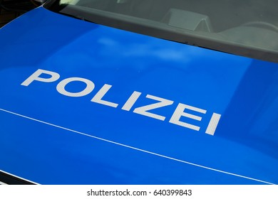 Polizei, police label on car