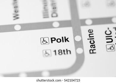 Polk Station. Chicago Metro map.