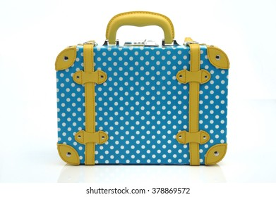 Polka Dot Print suitcase, Vintage style with Blue and White Polka Dots Print Detail Travel Case Briefcase Bag